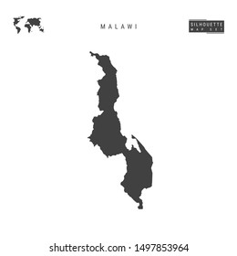 Malawi Blank Map Isolated on White Background. High-Detailed Black Silhouette Map of Malawi.