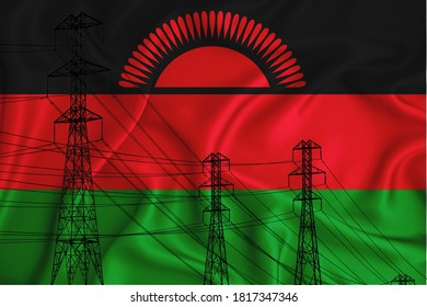 Malawi flag in the background Conceptual illustration and silhouette of a high voltage power line in the foreground a symbol of the upcoming energy crisis. 3d rendering