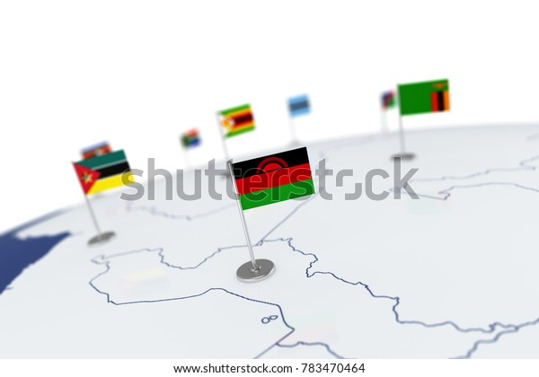 Malawi flag. Country flag with chrome flagpole on the world map with neighbors countries borders. 3d illustration rendering flag