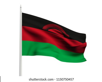 Malawi flag floating in the wind with a White sky background. 3D illustration.