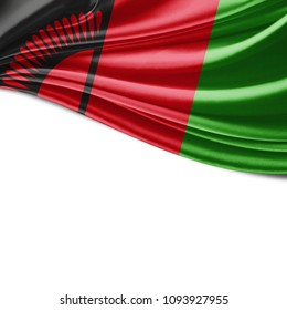 Malawi flag  of silk with copyspace for your text or images and white background-3D illustration