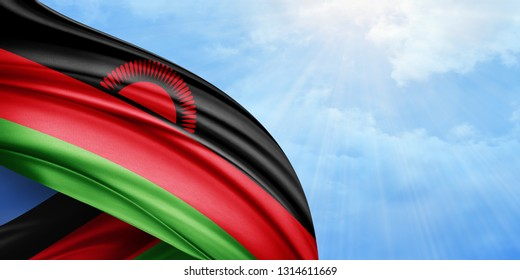 Malawi flag of silk with copyspace for your text or images and sky background-3D illustration