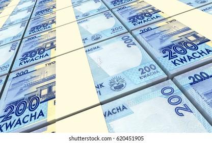 Malawi kwacha bills stacked background. 3D illustration.
