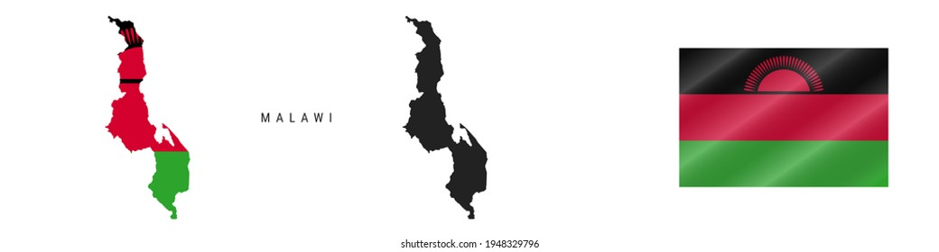 Malawi. Map with masked flag. Detailed silhouette. Waving flag. illustration isolated on white.