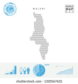 Malawi People Icon Map. People Crowd in the Shape of a Map of Malawi. Stylized Silhouette of Malawi. Population Growth and Aging Infographic Elements. Illustration Isolated on White.