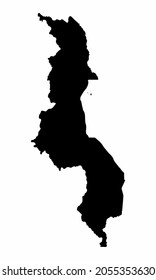 Malawi silhouette map isolated on white background