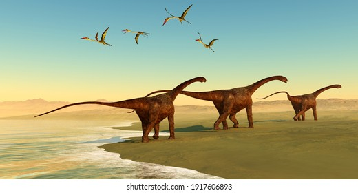 Malawisaurus Dinosaur Beach 3d illustration - Quetzalcoatlus reptiles fly out to sea as a herd of Malawisaurus dinosaurs go in search of vegetation to eat.