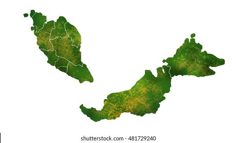 Malaysia detailed country map visualization
