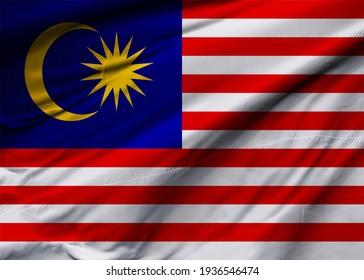 Malaysia flag blowing in the wind. Background texture. Kuala Lumpur, Putrajaya. 3d Illustration. 3d Render.