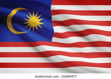 Malaysia flag blowing in the wind. Part of a series.