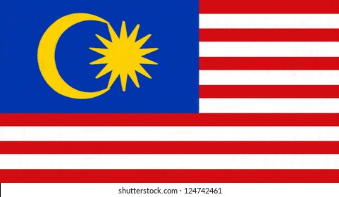 Malaysia flag drawing by pastel on charcoal paper
