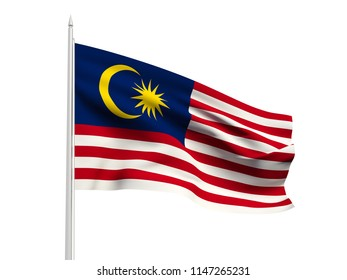 Malaysia flag floating in the wind with a White sky background. 3D illustration.