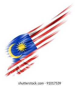 The Malaysia flag on Abstract wing with white background