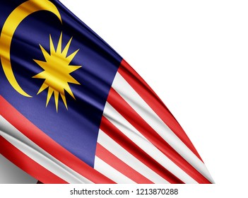 Malaysia   flag of silk with copyspace for your text or images and white background-3D illustration