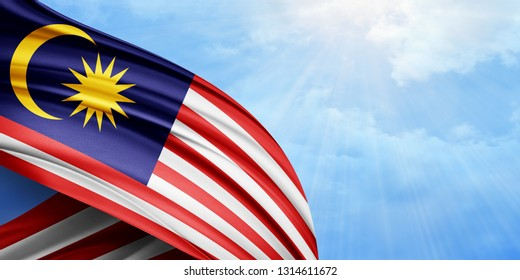 Malaysia   flag of silk with copyspace for your text or images and sky background-3D illustration