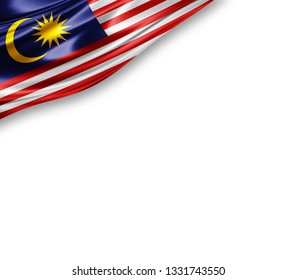 Malaysia  flag of silk with copyspace for your text or images and white background -3D illustration