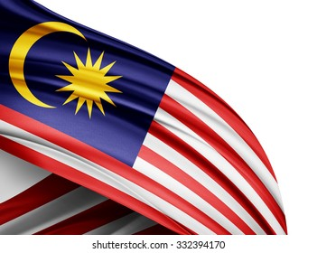 Malaysia   flag of silk with copyspace for your text or images and white background