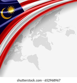 Malaysia flag of silk with copyspace for your text or images and World map background-3D illustration