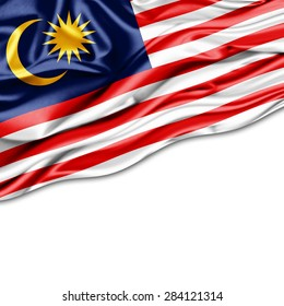 Malaysia flag of silk and white background