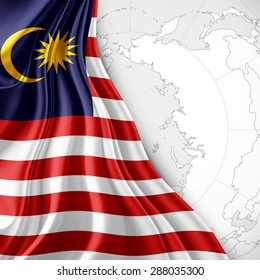 Malaysia flag of silk with world map and white background