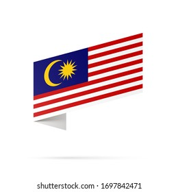 Malaysia flag state symbol isolated on background national banner. Greeting card National Independence Day of the Malaysia. Illustration banner with realistic state flag.