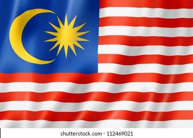 Malaysia flag, three dimensional render, satin texture