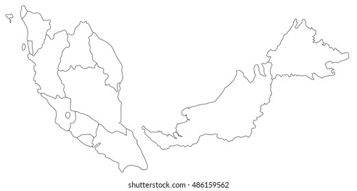 Malaysia map. A country located in Southeast Asia. There are two distinct parts to this country being Peninsular Malaysia to the west and East Malaysia to the east.