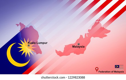 Malaysia map and Kuala Lumpur with location map pin and Malaysia flag on travel map of Asia - Federation of Malaysia