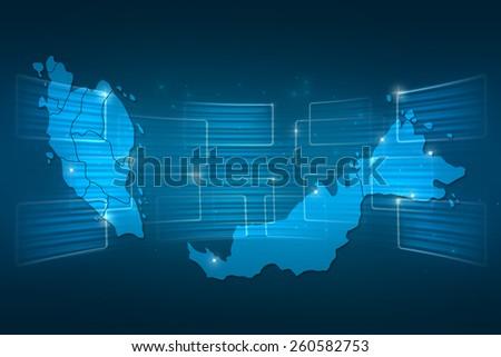 Malaysia Map World Map News Communication Stock Illustration