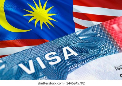 Malaysia Visa Document, with Malaysia flag in background, 3D rendering. Malaysia flag with Close up text VISA on USA visa stamp in passport.Visa passport stamp travel Malaysia business