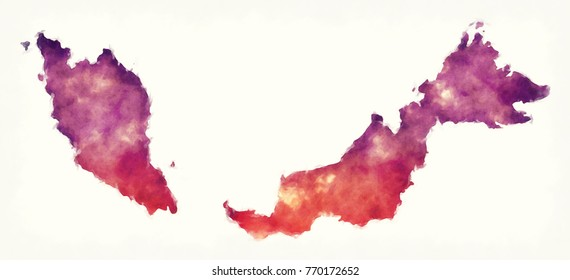 Malaysia watercolor map in front of a white background