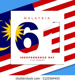 Malaysia's sixty one years independence day concept.Illustration of Malaysian Flag overlapping with text Malaysia 61 years independence day.Illustration in jpeg format.