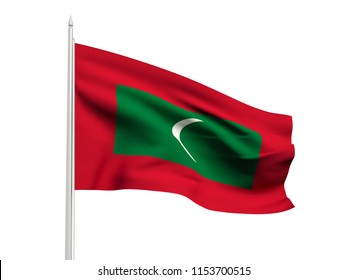Maldives flag floating in the wind with a White sky background. 3D illustration.