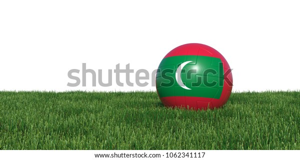 Maldivian Maldives flag soccer ball lying in grass, isolated on white background. 3D Rendering, Illustration.