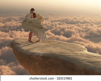Male angel protectively envelops female companion in his wings on a promontory high above the clouds