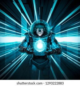 Male astronaut delivering the orb / 3D illustration of science fiction scene with astronaut in space suit in neon lit corridor with glowing alien quantum energy ball