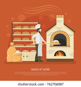 Male baker working in bakery with bread on shelves flat  illustration