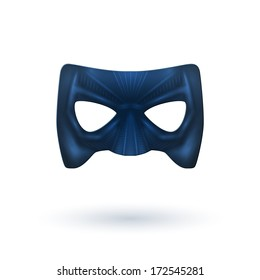Male Black Leather Mask with Shadow for Superhero - Isolated on White