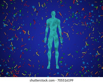 Male body,man surrounded by microbiome cloud of bacteria, viruses, microbes. 3d rendering. Blue background