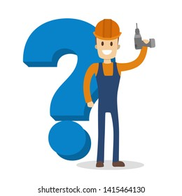 Male carpenter holding a drill and smiling. Happy wood worker in uniform standing at the big question mark.