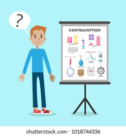 Male contraception illustration. Confused man standing next to info board.