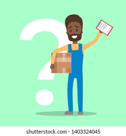 Male courier in uniform holding box and clipboard. Man standing with a question mark behind. Male worker in delivery industry. Flat  illustration