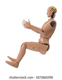 Male Crash Test Dummy 3D illustration on white background