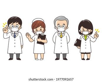 Male doctors, female doctors and nurses