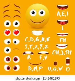 Male emoji mouth animation design elements. Lip sync mouth shapes for animation and eyes, eyebrows for cool smiley creation.