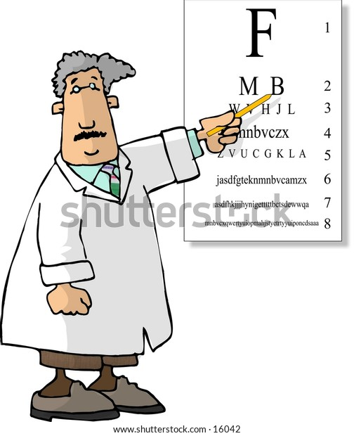 Male eyedoctor pointing to an eye chart
