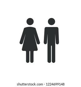 Male female bathroom icon. Restroom boy or girl lady sign symbol. Toilet wc concept.