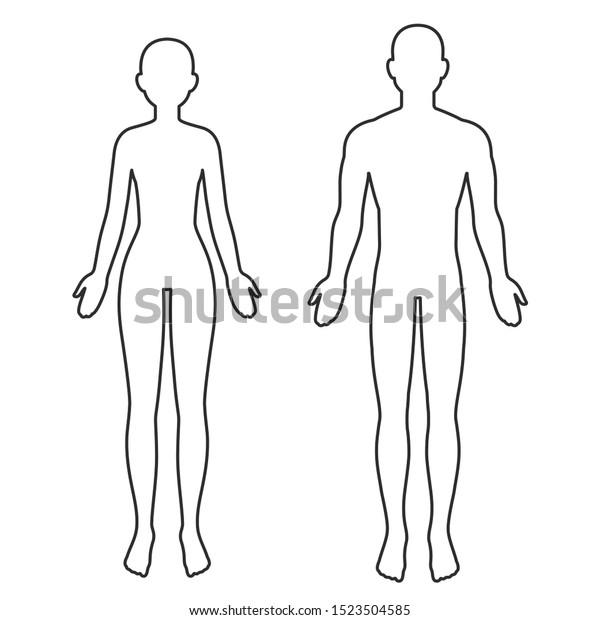 Male Female Body Silhouette Outline Blank Stock Illustration 1523504585