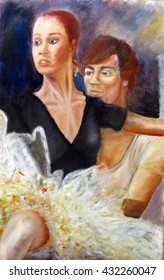 male and female dancers oil painting illustration,  close up in impressionist style , male male dancer lifts female ballerina at rehearsal , art oil painting, impressionist style portrait,