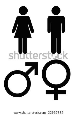 Male Female Gender Symbols Black Silhouette Stock Illustration